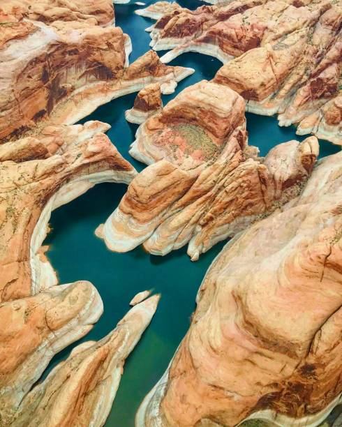 Aerial View of Lake Powell, Arizona/Utah Border Aerial View of Lake Powell, Arizona/Utah Border lake powell stock pictures, royalty-free photos & images