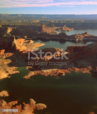 Aerial view of Lake Powell Reservoir in the Glen Canyon National Recreation Area, Retro Picture