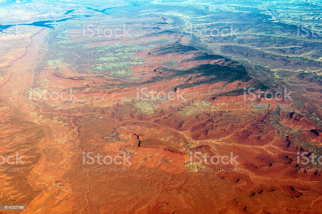 Aerial View of Lake Powell Utah Arizona USA stock photo