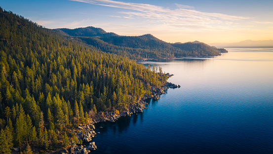 Aerial View of Lake Tahoe Mountains and Turquoise Blue Water, California, USA