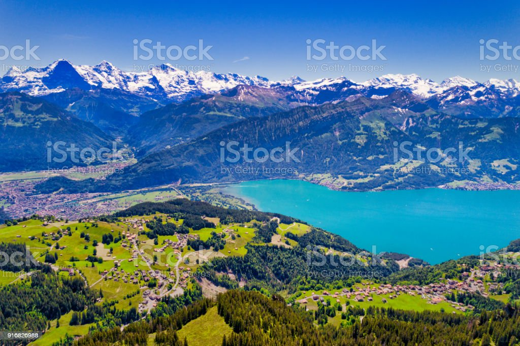Aerial view of Lake Thun and Bernese Alps stock photo