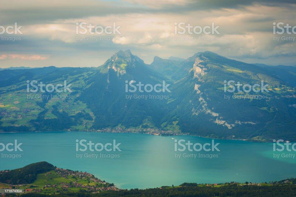 aerial view of lake Thun stock photo