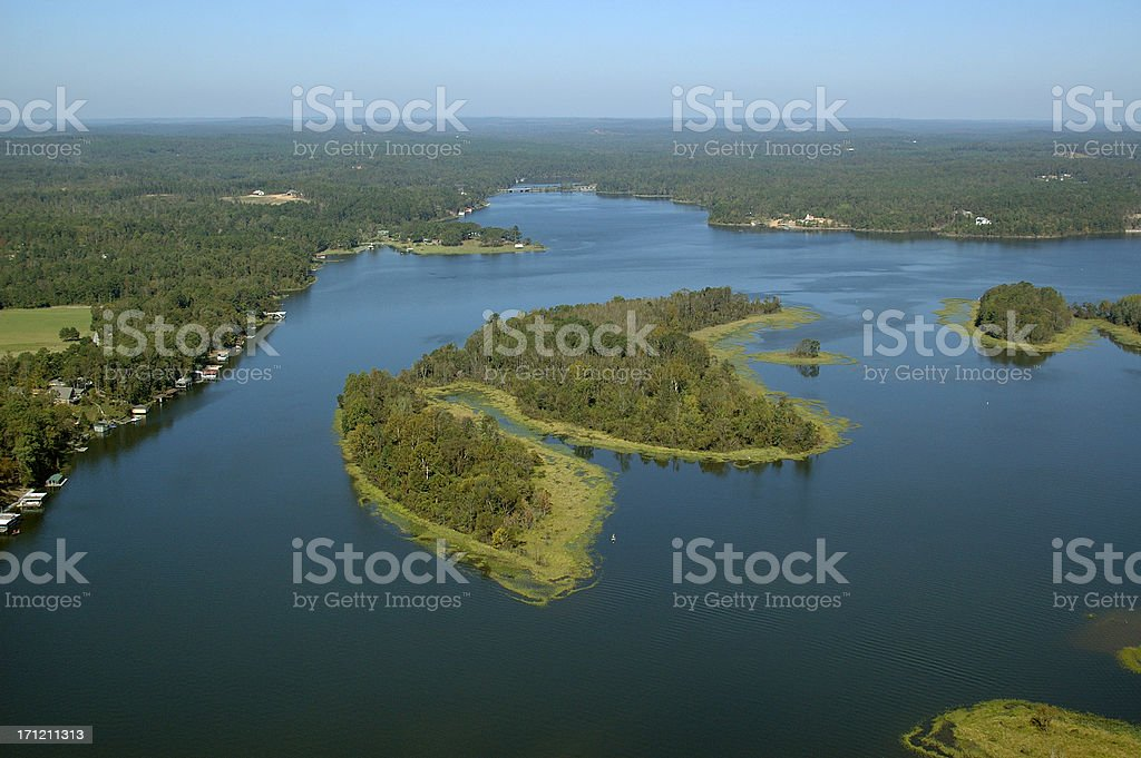 Aerial view of Lake Tuscaloosa islands stock photo