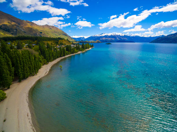 Aerial view of Lake Wanaka stock photo