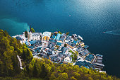 Fantastic High Angle Aerial view of scenic nature landscape of Salzburg Hallstatt village landscape  and alpine lake, Austrian Alps, Salzkammergut, Austria, Europe