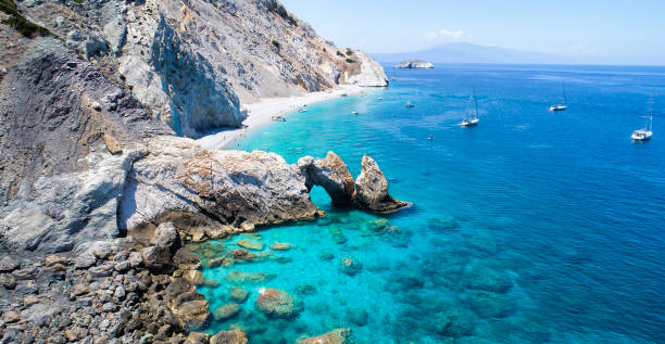 Aerial view of Lalaria beach in Skiathos, Greece and the mountains of Pilion in the background. stock photo