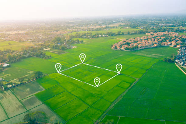 Aerial view of land and positioning point area. Aerial view of land and positioning point area. cultivated land stock pictures, royalty-free photos & images