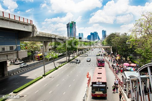 istock Aerial view of Landscape and cityscape with people walking and traffic at Chatuchak Market 672891872