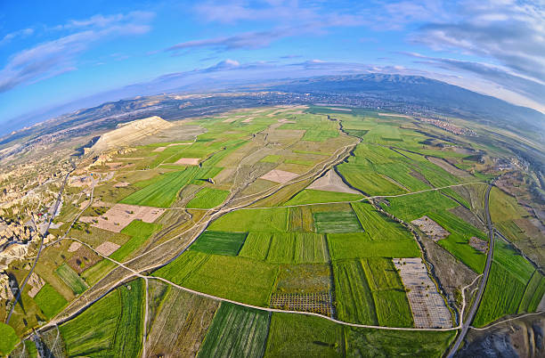 Aerial view of landscape fields and natural landscape stock photo