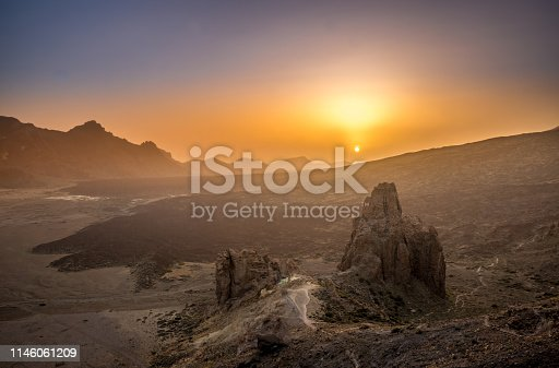 Aerial View of Landscape with Rocks in Teide National Park during Sunset, Tenerife, Spain, Europe