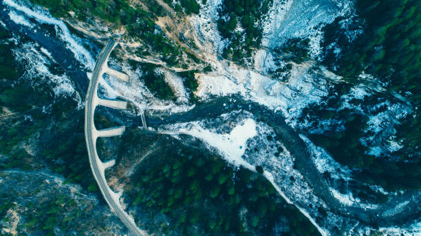 Aerial view of Landwasser viaduct in Switzerland stock photo