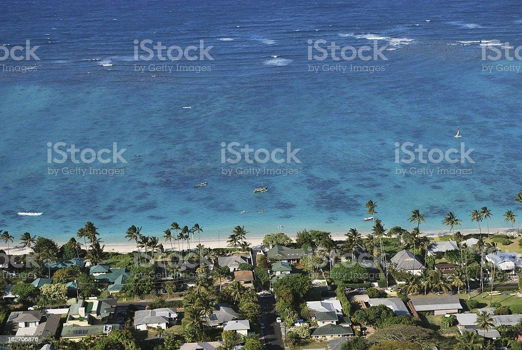 Aerial View of Lanikai Bay Residential Area, Oahu, Hawaii. stock photo