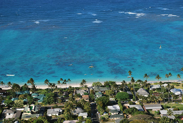 aerial view of lanikai bay residential area, oahu, hawaii. - hawaii home stock photos and pictures