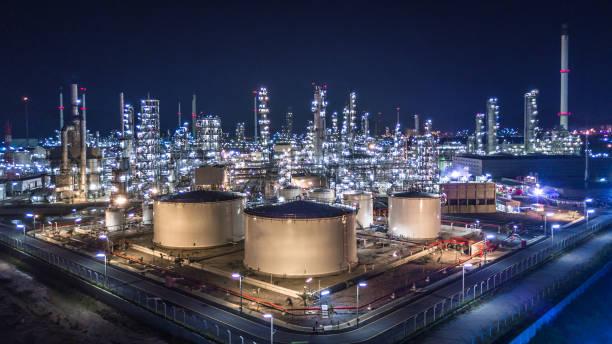 aerial view of large oil refinery, refinery plant, refinery factory. - refinery stock photos and pictures