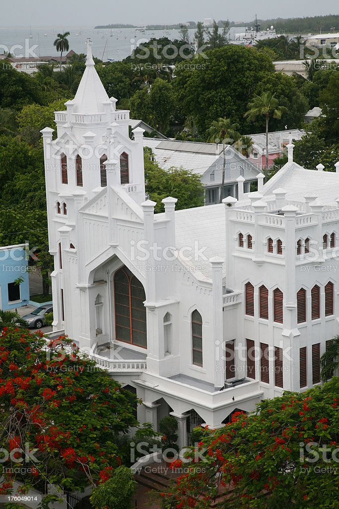 Aerial View Of Large White Church royalty-free stock photo