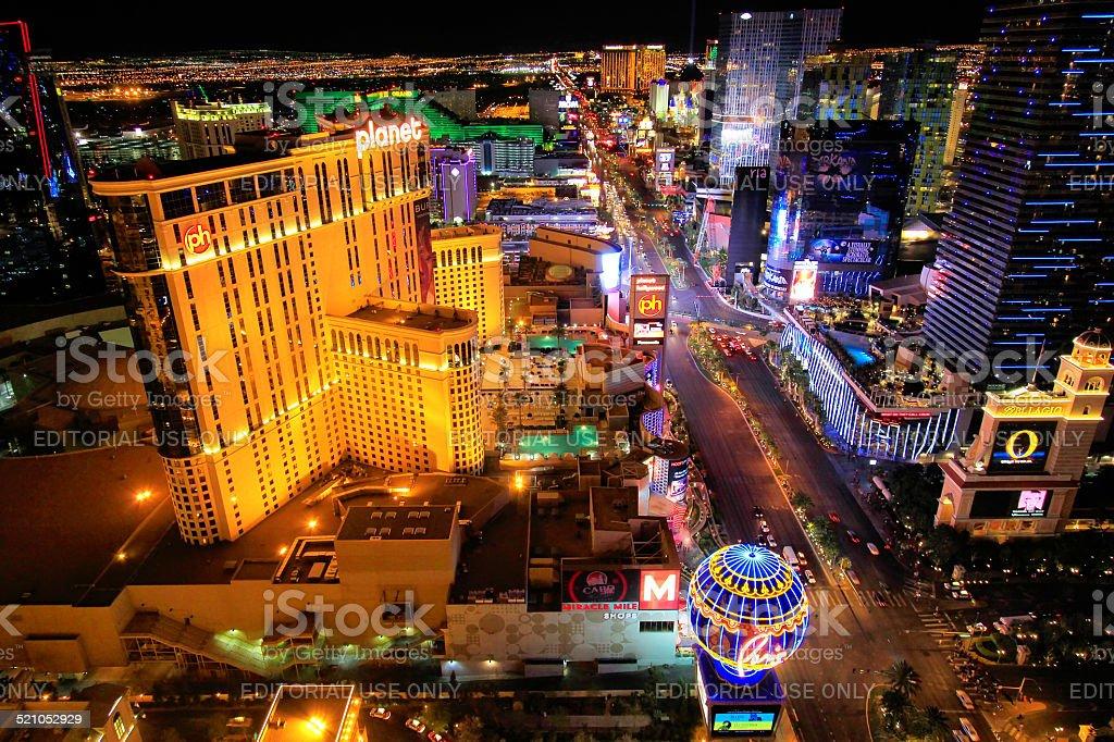 Aerial view of Las Vagas strip at night, Nevada Las Vegas, USA - March 18, 2013: Aerial view of Las Vagas strip at night, Nevada, USA Architecture Stock Photo