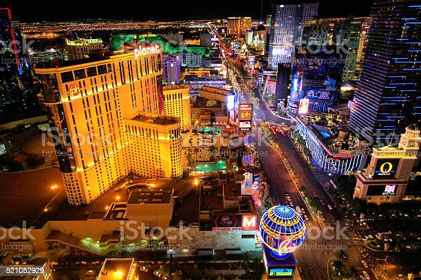 Aerial View Of Las Vagas Strip At Night Nevada Stock Photo - Download Image Now