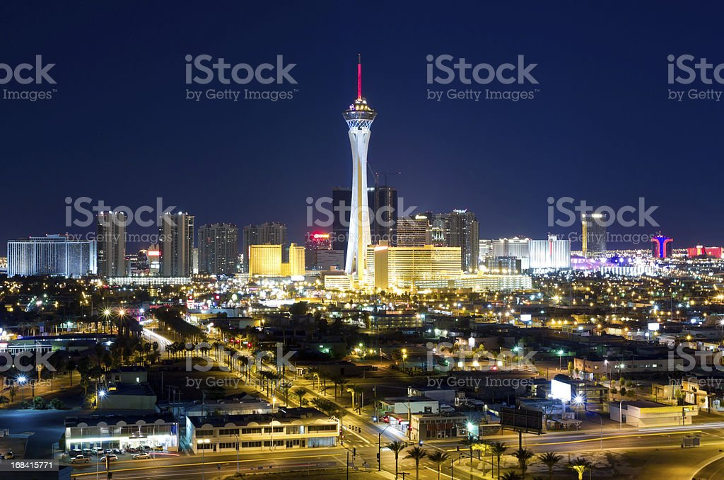 Aerial View of Las Vegas at Twilight stock photo