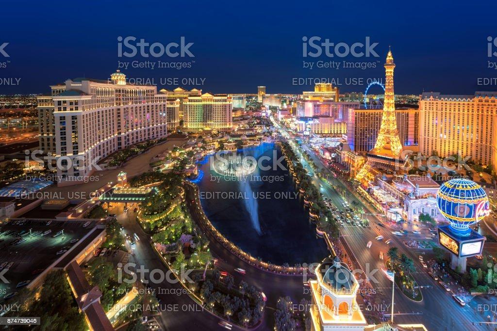 Aerial view of Las Vegas strip as seen at night stock photo