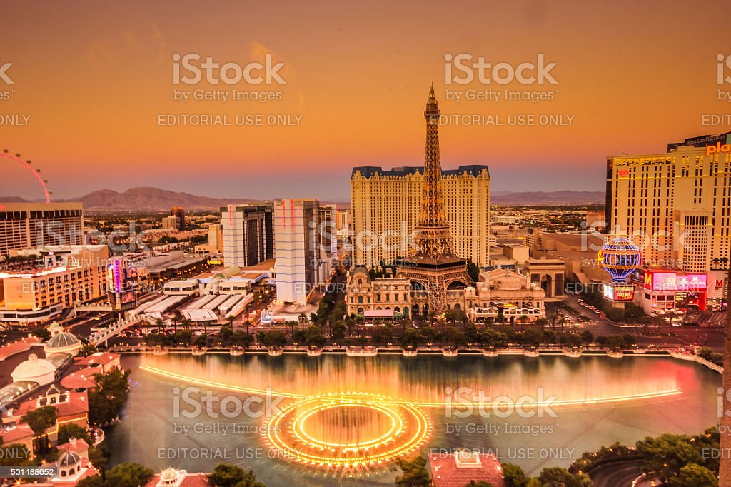 Aerial view of Las Vegas strip at dusk stock photo