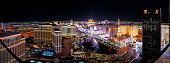 Las Vegas, USA - July 25, 2018 Aerial view of Las Vegas strip at night in Nevada. The famous Las Vegas Strip with the Bellagio Fountain The Strip is home to the largest hotels and casinos in the world.