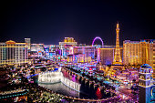 Las Vegas, USA - December 18, 2018 Aerial view of Las Vegas strip at night in Nevada. The famous Las Vegas Strip with the Bellagio Fountain. The Strip is home to the largest hotels and casinos in the world.