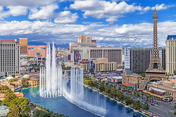 Aerial view of Las Vegas Strip daytime in Nevada stock photo