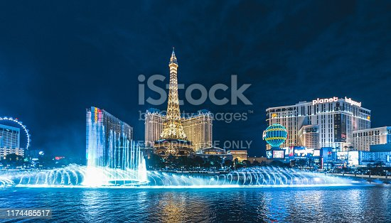 Aerial view at night of Luxury Hotels in Las Vegas strip: Paris, Ballys, Planet Hollywood and many other luxury casino resorts in the heart of Las Vegas. In front the Bellagio lake fountain show.