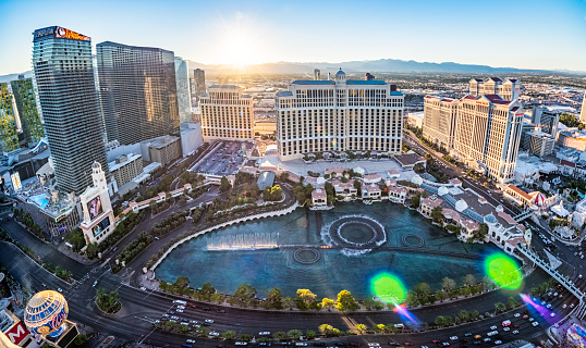 October 18, 2018 - Las Vegas, United States:  Panoramic aerial view of Luxury Hotels in Las Vegas strip: Paris, Venitian, Palazzo, Bellagio and many other luxury casino resorts in the heart of Las Vegas and the fountains of Bellagio Hotel