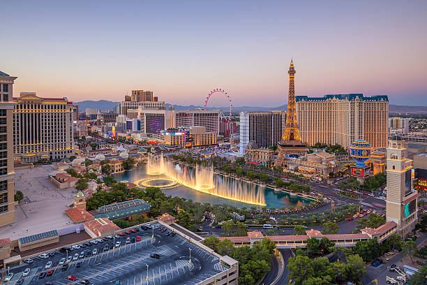 aerial view of las vegas strip in nevada - skyline stock photos and pictures