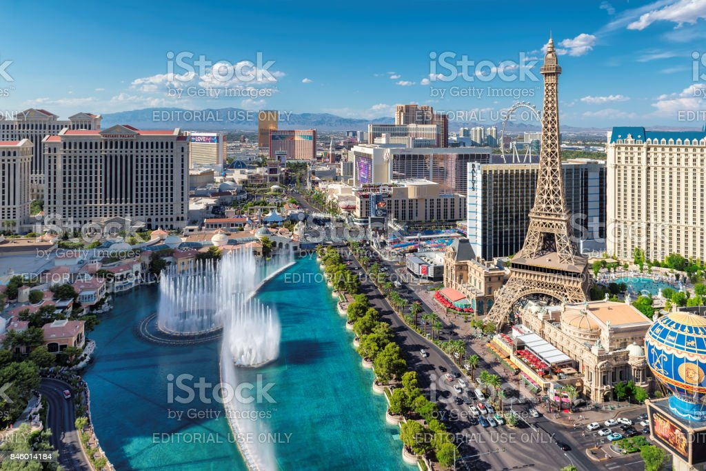 Aerial view of Las Vegas strip stock photo