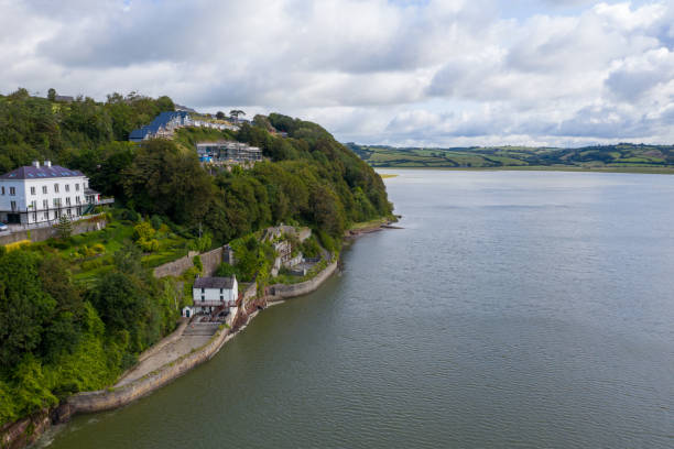 Aerial view of Laugharne in Wales stock photo