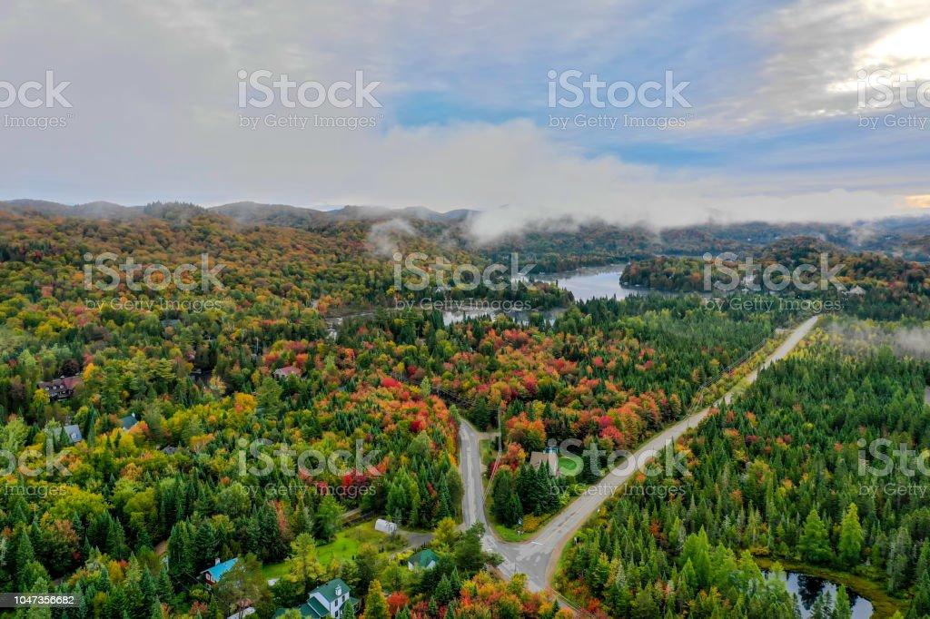 Aerial View of Laurentian\'s Landscape in Autumn, Quebec, Canada