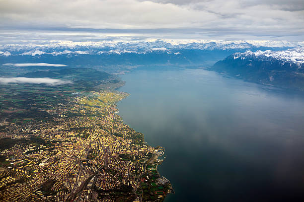 aerial view of lausanne and lac leman - lake geneva stock photos and pictures