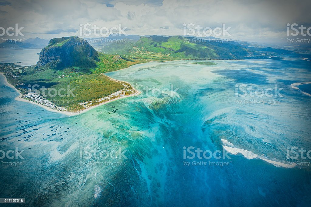 Aerial view of Le Morne Brabant mountain stock photo