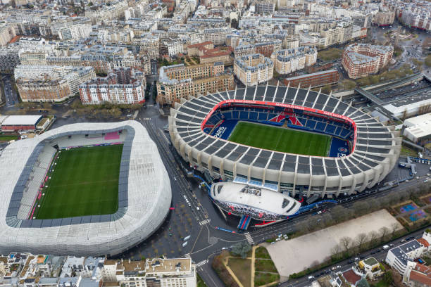 Aerial View of Le Parc des Princes Soccer and Stade Jean Bouin Rugby Stadium stock photo