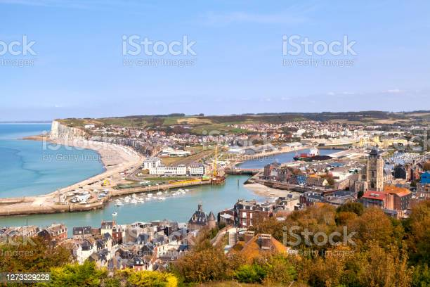 Aerial View Of Le Tréport And Merslesbains Stock Photo - Download Image Now