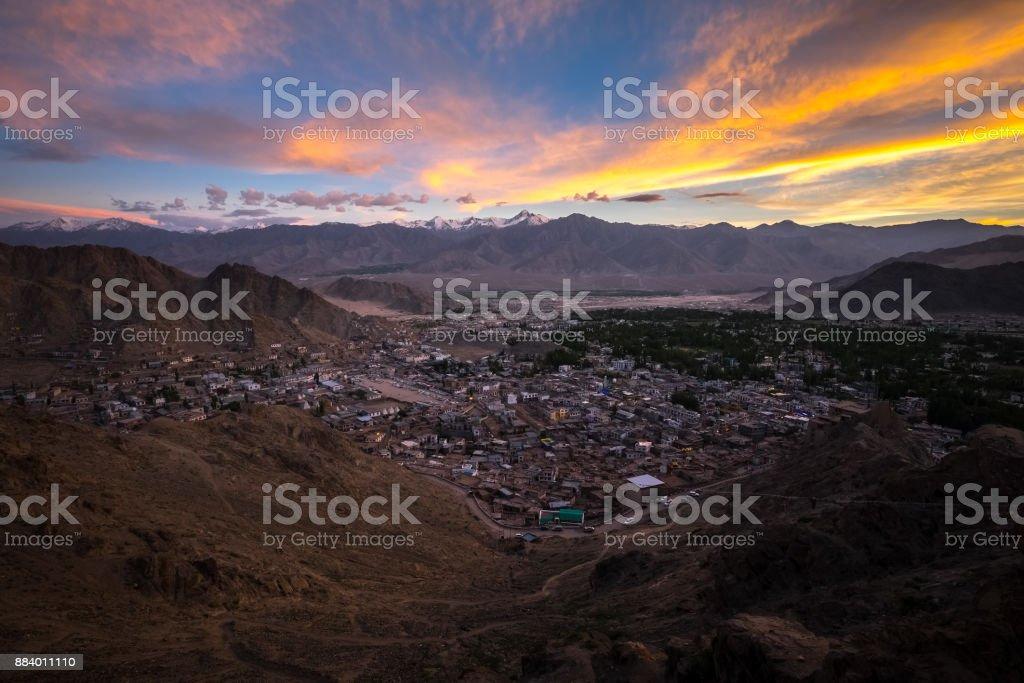 Aerial view of Leh city in Ladakh, India stock photo