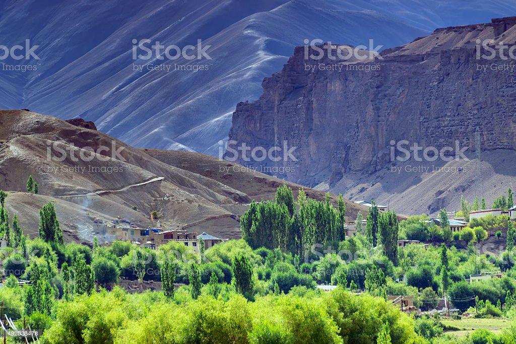 aerial view of Leh ladakh landscape, Jammu and Kashmir, India stock photo