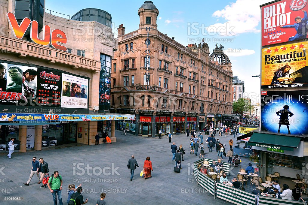 Aerial view of  Leicester Square London UK stock photo