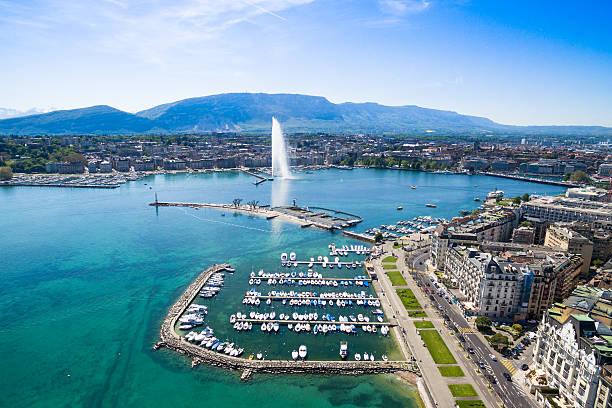 Aerial view of Leman lake -  Geneva city in Switzerland stock photo