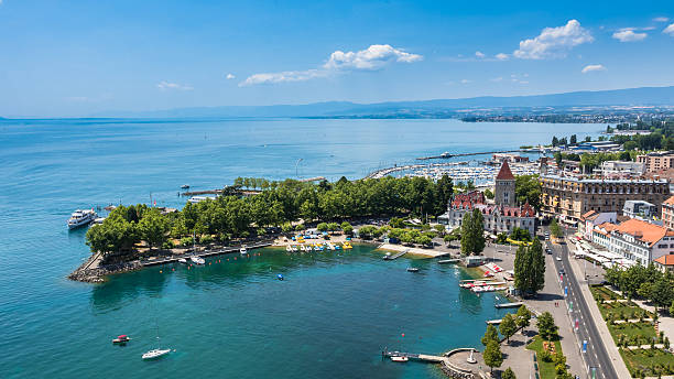 Aerial view of Leman lake -  Lausanne city in Switzerland stock photo