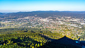 istock Aerial view of Liberec city and Jizera Mountains from Jested Mountain on sunny summer evening. Czech Republic 1138640977