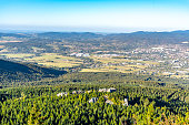 istock Aerial view of Liberec city and Jizera Mountains from Jested Mountain on sunny summer evening. Czech Republic 1138640983