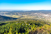 istock Aerial view of Liberec city and Jizera Mountains from Jested Mountain on sunny summer evening. Czech Republic 1138852527