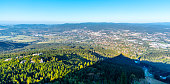 istock Aerial view of Liberec city and Jizera Mountains from Jested Mountain on sunny summer evening. Czech Republic 1141567145