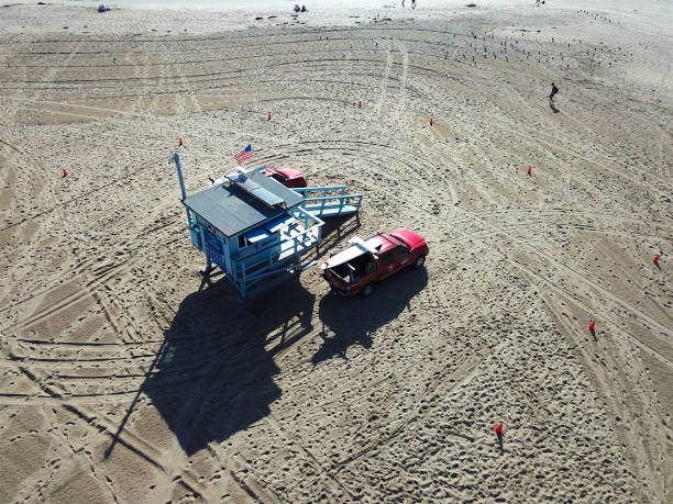 Aerial view of Lifeguard tower on the beach stock photo