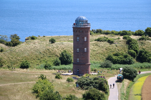 Aerial view of Lighthouse Peilturm at Cape Arkona on Island Rügen, Germany Baltic Sea