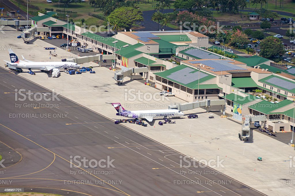 aerial view of Lihue Airport stock photo