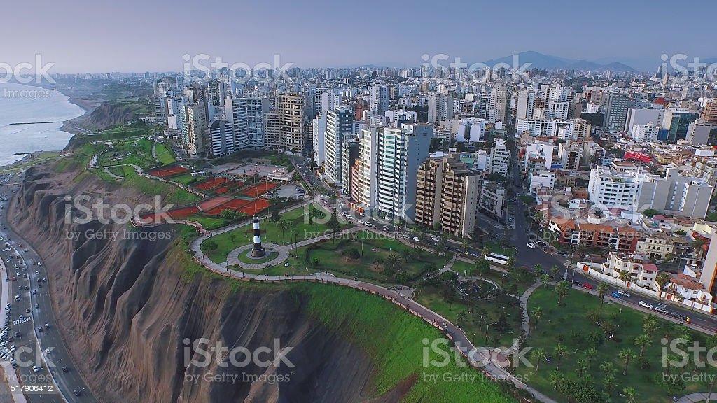 Aerial view of Lima Peru Miraflores cosatline cityscape stock photo